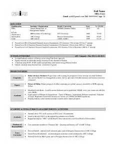 Resume Formats For Freshers Sample Resume Fresher
