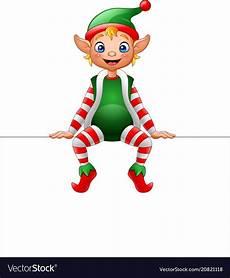 Design An Elf Google Cartoon Christmas Elf Sitting On Blank Sign Vector Image