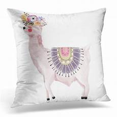arhome pink watercolor dreaming llama with flower
