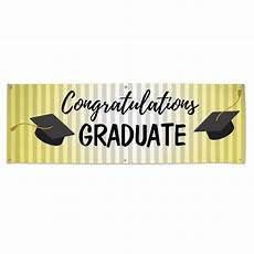 Congratulations Graduate Banner Congratulations Graduation Black Cap On Gold 6x2 Vinyl