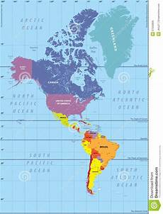 World Map Of North And South America High Detailed Map Of North And South America Stock Vector