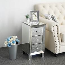 3 drawers mirrored glass bedside table cabinet
