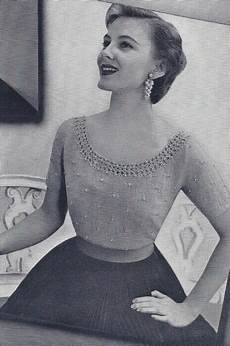 vintage knitting pattern knitted scoop neck beaded blouse