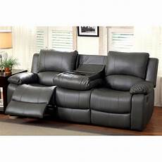 furniture of america rathbone recliner sofa with cup