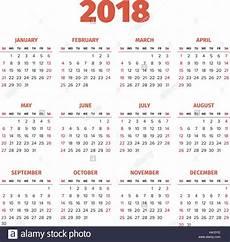 Year Calender Simple 2018 Year Calendar Stock Vector Art Amp Illustration