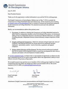 Athlete Letter Of Recommendation Knight Commission Recommendations For The Ncaa To Consider