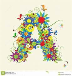 Letter Desings Letter A Floral Design Stock Vector Illustration Of