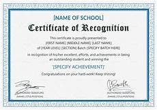 Text For Certificate Of Recognition Certificate Of Recognition Template Word Deped