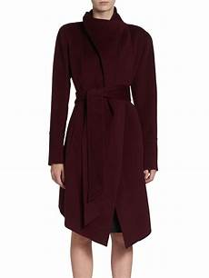 donna karan coats for donna karan new york draped coat in wine lyst
