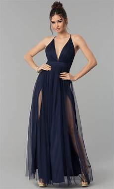 tulle prom dress with low v neck promgirl