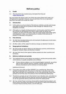 Delivery Terms And Conditions Template Free Delivery Policy Docular