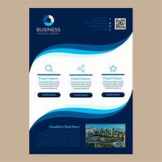 Single Page Brochure Template Simple Blue Wavy Design One Page Business Brochure