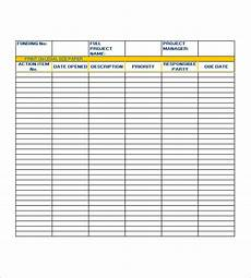 Action Item Template Word Action List Template 7 Free Word Excel Pdf Formats