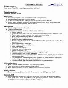 Nursing Supervisor Job Description Sample Cna Certified Nursing Assistant Job Description