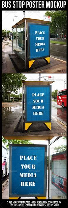 Bus Stop Poster Template Bus Stop Poster Mockup By Rapidgraf Graphicriver