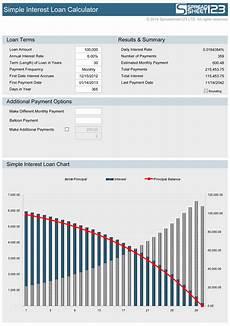 Loan Interest Chart Simple Interest Loan Calculator Free For Excel