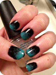 Black And Teal Nail Designs Gab Simas Notd Teal Amp Black Ombre Nails