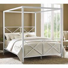 canopy bed size white finish metal frame modern