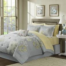 beautiful contemporary chic grey silver yellow bed in bag