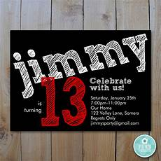 Free Printable Party Invitations For Boys Boy S Birthday Invitation Red Chalk Lettering