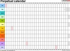 Perpetual Calendar Excel Perpetual Calendars Free Printable Microsoft Excel Templates