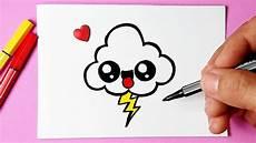 como desenhar nuvem fofa kawaii raio desenhos bonitos