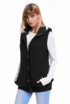 cable knit hooded sweater vest womens brief autumn winter
