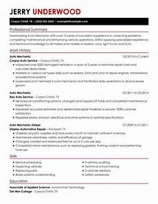 Cv Auto Tech Professional Mechanics Resume Examples Livecareer