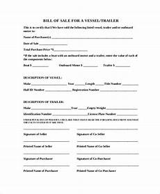 Sample Bill Of Sale For Trailer Free 9 Sample Blank Bill Of Sale Templates In Pdf Ms Word