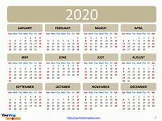 12 Months Calendar 2020 Printable Printable Calendar 2020 Template Free Powerpoint Templates
