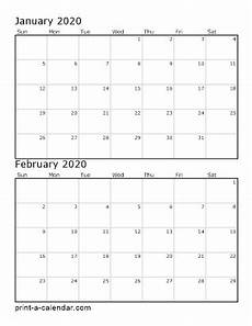 Two Month Calendar 2020 Download 2020 Printable Calendars