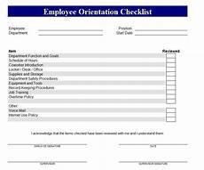 Orientation Checklist New Employee Orientation Checklist