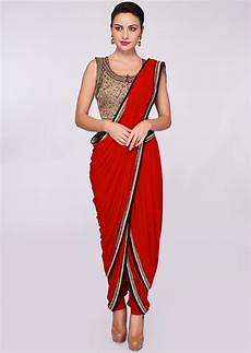 Dhoti Saree Design Buy Red Lycra Dhoti Saree Paired With Fancy Fabric Blouse