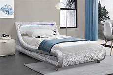 barcelona silver crushed velvet led low modern bed frame