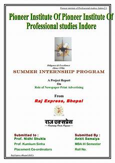 Front Page For Report Project Report On Raj Express Newspaper
