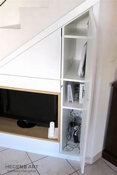 meuble tv et rangement pour meuble tv encastr 233 sous escalier hegenbart