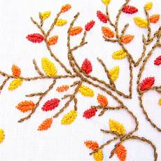 autumn tree embroidery pattern wandering threads