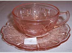 Depression Glass Cherry Blossom child's set cup & saucer