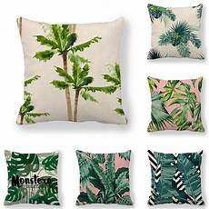 45cm 45cm cushion cover green leaves pattern linen cotton
