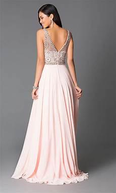 beaded pink chiffon prom dress promgirl