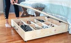 diy underbed shoe storage buildsomething