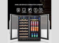 LANBO Wine and Beverage Cooler, Compressor Under Counter Wine Cellar and Beverage Fridge Combo