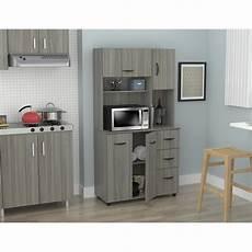inval kitchen microwave storage cabinet smoke oak