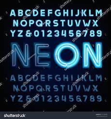 Stheititc Light Font Blue Neon Tube Alphabet Font Light Stock Vector 515130409
