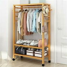 wood clothes rack everyday heavy duty hallway wooden rail clothes hanging stand shoe