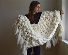 chunky knit blanket 100 merino wool throw with fringe