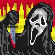 Minecraft Pixel Art Grids Ghostface From Scream 50 X 50 Square Grid Pattern