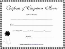 Blank Certificate Of Completion Template Blank Completion Certificate Template Download Free