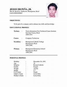 Types Of Resume Format Sample Resume Format Sample Cv Format Cv Resume Application