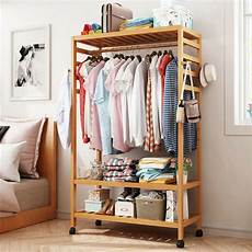wood clothes rack everyday large capacity garment clothes rack bamboo wood w wheel 4
